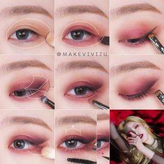 Edgy Makeup, Eye Makeup Art, Kiss Makeup, Korean Eye Makeup, Asian Makeup, Eye Makeup Steps, Makeup Tips, Ulzzang Makeup, Make Up Anleitung