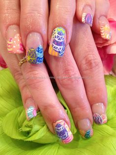 Easter egg freehand nail art on acrylic nails