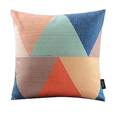 Mult-colored Triangle Linked Cotton/Linen Decorative Pillow Cover – AUD $ 18.05