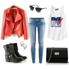 red leather jacket outfit - Google Search