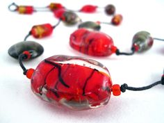 Autumn Birch $27.00 - Ladies beaded necklace. Murano glass beads, glass seed beads, and black colored wire on waxed bead cord.