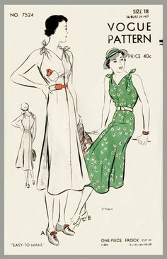 1930s women's vintage sewing pattern summer sun dress flared skirt Medium bust 36 b36 repro by LadyMarloweStudios on Etsy https://www.etsy.com/listing/231910091/1930s-womens-vintage-sewing-pattern