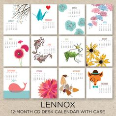 LENNOX 2016 Desk Calendar with CD case por doublebuttons en Etsy