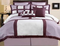 8 Pieces Plum and White Patchwork - Pin Tuck, Comforter Set Bedding Set / Bed-in-a-bag, Queen Size, Machine Washable by Home Collection. $64.99. Set includes, 1 Comforter , 2 Shams ,1 BedSkirt, 2 decorative pillows, 2 euro shams. Care, Machine Washable. Be sure to check out our store front for other great products!. Designed with nature-inspired colors in shades of plum and white for a beautiful design impact. Palermo bedding set features pieced pin tuck in fashionable blo...