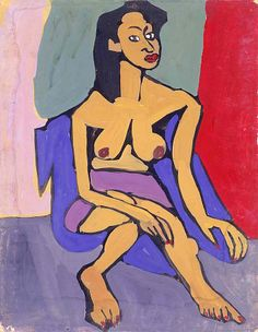 """Seated Female Model with Purple Skirt"", ca. 1939-1940, William H. Johnson, tempera on paperboard, 28 x 22 in. (71.1 x 55.9 cm), Smithsonian American Art Museum, Gift of the Harmon Foundation, 1967.59.199"