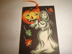 Old Vintage Cardboard Halloween Tally Card Ghost Jack O Lantern Gibson Unused