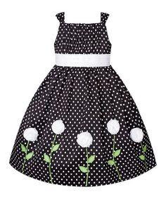 Look what I found on #zulily! Black & White Polka Dot Rosette Dress - Toddler & Girls #zulilyfinds
