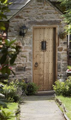 Wooden pegged front door with bespoke ironmongery including metal grill detail. Handmade and designed by Jack Badger. Photography by Andy Haslam. Cottage Front Doors, Oak Front Door, Cabin Doors, Secret Garden Door, Garden Doors, Small Doors, The Doors, House Entrance, Entrance Doors