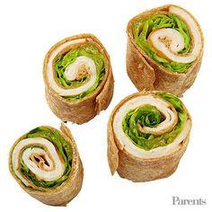 Turkey, lettuce, and Dijon mustard pinwheels on a whole-grain tortilla Baby carrots Vegetable chips