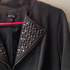Studded jacket/blazer Charcoal color. Front zipper with flared and embellished flaps near neckline. Not full length sleeves. Purchased at Khols (Apt.9). Jackets & Coats Blazers