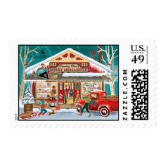 Country Store Postage Stamps - christmas stamps custom merry xmas postage diy customize