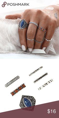Gold Tone 6pc Boho Midi Ring Set Gold Tone 6pc Boho Midi Ring Set. Size includes 5,6,7 &8 ring. Jewelry Rings