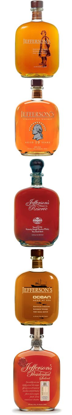 All The Jefferson's Small Batch Bourbon Bottles To Date PD **I can tell you that the Jefferson's Presidential Select 25 is absolutely heavenly and worth every penny! Good Whiskey, Cigars And Whiskey, Scotch Whiskey, Bourbon Whiskey, Alcohol Bottles, Liquor Bottles, Drink Bottles, Cocktails, Wine Pairings