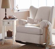 Wing Back Rocker, White Twill
