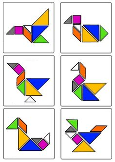 * Tangram - Oiseaux 1-3 Preschool Math, Fun Math, Classroom Activities, Tangram Puzzles, Alternative Education, Auction Projects, Number Games, Guided Math, Pattern Blocks