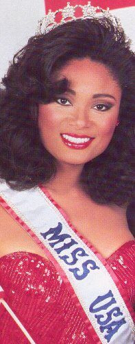 Miss USA 1990 - Carole Gist.  She was the first black woman to be crowned Miss USA (and it just so happened to be my birth year :-) )