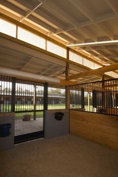 Open stalls. I love the concept of the window above the stall to let in more light, as well as the barred dividers in between the stalls to allow interaction among the horses.