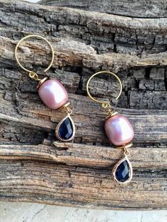 Pretty pink big fresh water pearls with blue crystal drops in gold vermeil Hill Tribe silver hooks! Blue Earrings, Crystal Earrings, Statement Earrings, Drop Earrings, Blue Gold, Pink And Gold, Pink Blue, Gifts For New Moms, Gold Pearl