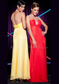 Chiffon A line Halter Sleeveless Floor Length Zipper up Prom Gown