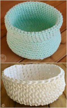 we have brought here these 31 free crochet patterns, all are new and inspiring! All these crochet patterns will help you to broad your creative vision about Crochet Bowl, Crochet Basket Pattern, Crotchet Patterns, Easy Crochet, Crochet Stitches, Free Crochet, Knit Crochet, Crochet Baskets, Crocheted Bags