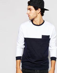 Image 1 ofASOS Sweatshirt With Contrast Yoke And Pocket