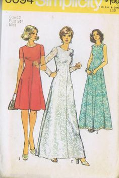 VINTAGE DRESS 1 PC 70s SEWING PATTERN 6094 SIMPLICITY SZ 12 BUST 34 HIP 36 UNCUT
