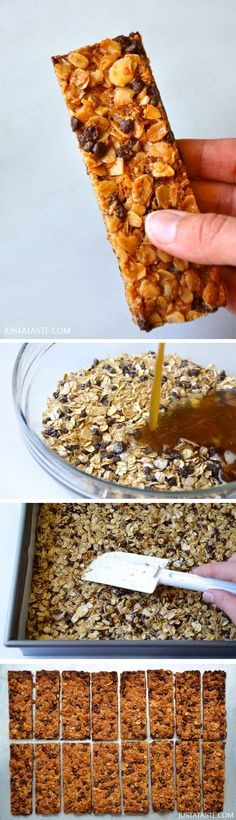 Easy Homemade Chocolate Chip Granola Bars Not very good for you but worth a try for those sweet treats Chocolate Chip Granola Bars, Homemade Chocolate Chips, Homemade Oatmeal Bars, Homemade Protein Bars, Homemade Cereal, Chocolate Recipes, Snack Recipes, Dessert Recipes, Cooking Recipes