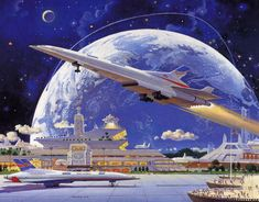 Science Fiction World — Art by Robert McCall. Futuristic City, Futuristic Architecture, Art Science Fiction, Sci Fi Wallpaper, Arte Sci Fi, Colani, 70s Sci Fi Art, Space Illustration, Portrait Illustration