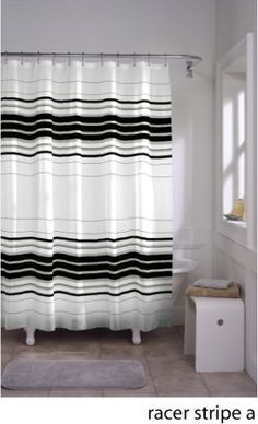 maytex racer stripe fabric shower curtain black