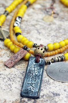 Necklace | Yellow | Tribal | African | Exotic | XO Gallery | XO Gallery