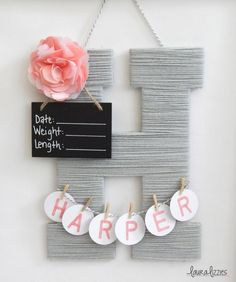 Hospital Door Hanging Letter, Girl or Boy, Chalkboard Birth Info, Personalized Name by LauraLizzies on Etsy https://www.etsy.com/listing/243174336/hospital-door-hanging-letter-girl-or-boy