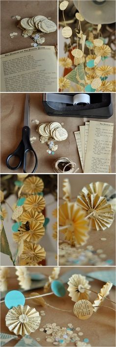 DIY: Printed Paper Garlands  Create a vintage library feel with easy DIY garlands evoking a papered past.  This gently tattered look can be used for photo booth backgrounds, hanging mobiles, or simple wall and aisle decorations.    Materials:  Twine  Used book, preferably a vintage journal or old sheets of music  Scissors  Tape  Optional: circle