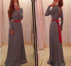 Long Sleeves Backless Stripe Long Loose Dress