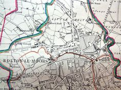 LANCASHIRE, BOLTON, BOLTON LE MOORS, Antique map 1868 Old Maps, Antique Maps, Local History, Family History, Bolton Lancashire, Old Pictures, Genealogy, Victorian, Inspire