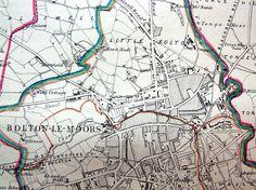 LANCASHIRE, BOLTON, BOLTON LE MOORS,  Antique map 1868