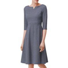 L.K. Bennett Harri Ponte Roma Fit Dress, Multi (€205) ❤ liked on Polyvore featuring dresses, midi dress, maxi dresses, floor length dresses, print dresses and long-sleeve mini dress