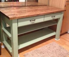 Kitchen Island - this would be useful to build for the kitchen, but could probably also be modified to a skinnier version for the entryway