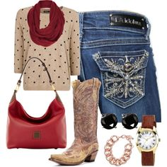"""Hot Spot"" by vault-denim-amber on Polyvore -----Your LA Idol jeans are always hot and red is always a huge color this time of year. The leaves are falling, the best kind of fruit are ripe for the picking, (apples, anyone?) and of course, love is always in the air. Show some love to your favorite pair of LA Idol at 14665.vaultdenim.com"