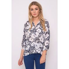 Rare London Black And White Floral Printed Shirt ($15) ❤ liked on Polyvore featuring tops