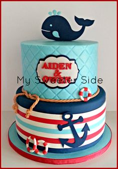 Children's Birthday Cakes - Happy first birthday, Aiden and Owen!! Top tier is covered in buttercream. Bottom tier is covered in navy fondant with a modeling chocolate wrap (my first!). The rope, whale, anchor, plaque and life preservers are fondant and modeling chocolate. Original design by Miss Couture.