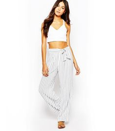 Striped Wide Leg Pants via @WhoWhatWear