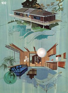 'Great Ideas for Second Homes: A Portfolio of 20 Distinguished New Designs in Plywood' | Published by the American Plywood Association in 1969 | Illustrative Paintings: Lorenzo Ghiglieri