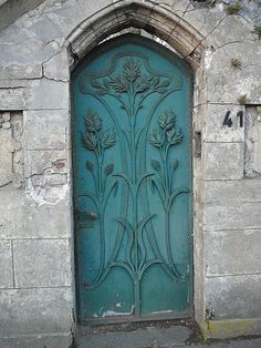 Metal doors in Wuppertal, Art Nouveau door in Friedrich Engels Allee - Germany