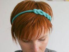 Headband Tricotin - Bleu Turquoise fait main