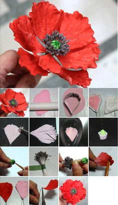 56 super ideas for cupcakes fondant flores gum paste Sugar Paste Flowers, Icing Flowers, Fondant Flowers, Edible Flowers, Diy Flowers, Fabric Flowers, Origami Flowers, Wafer Paper Flowers, Paper Roses