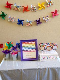 party favors at a rainbow pinwheel party