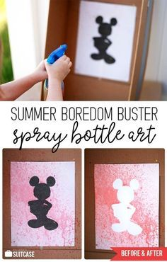 Crafts and activities for kids Easy Summer Activity - Spray Bottle Silhouette Art for Kids! Art Activities For Kindergarten, Kids Summer Activities, Nanny Activities, Preschool Crafts, Preschool Activities, Arts And Crafts For Kids Easy, Hand Crafts For Kids, Summer Arts And Crafts, Art For Kids
