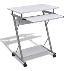 White Computer Desk Tray Home Office Kids Back To School Furniture Wood Wheels                                                                                                                                                                                 More