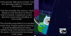 Hard to read, but basically says: in the ep marcelines closet, finns cloud hunt song refers to a nuclear cloud from a bomb