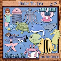Under The Sea  Clip Art for Digital by LatteDahDesigns on Etsy, $5.00